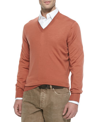 Wool-Blend V-Neck Pullover, Cayenne