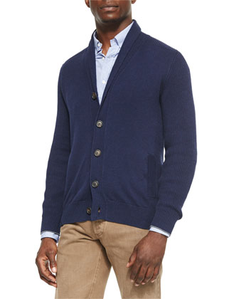 Shawl-Collar Chunky Cardigan, Ink Blue