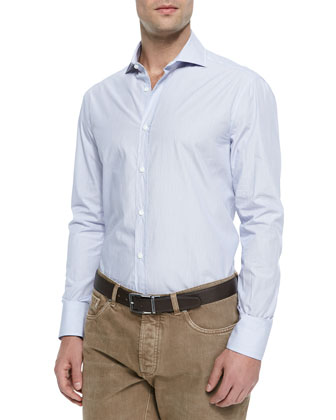 Woven Micro-Stripe Sport Shirt, Light Blue