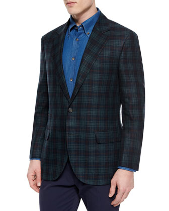 Madras Plaid Sport Jacket, Green/Blue/Red