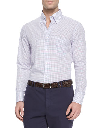 Basic Check Sport Shirt, Purple/Pink/Blue