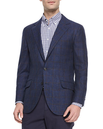 Wool Windowpane Sport Jacket, Navy/Brown