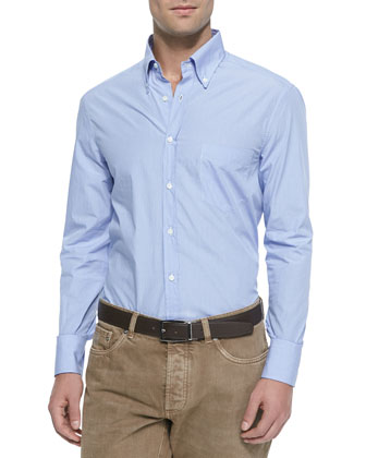 Woven Micro-Gingham Sport Shirt, Mid Blue