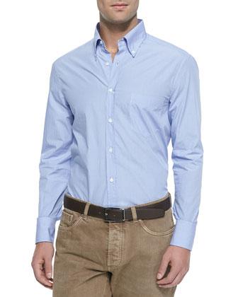 Woven Micro-Gingham Sport Shirt, Mid Blue