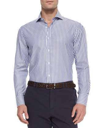 Awning Stripe Long-Sleeve Sport Shirt, Navy