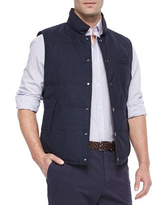 Reversible Snap-Front Vest, Ink/Brown