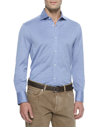 Jersey Button-Down Sport Shirt, Light Blue