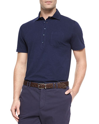 Five-Button Jersey Knit Polo, Ink