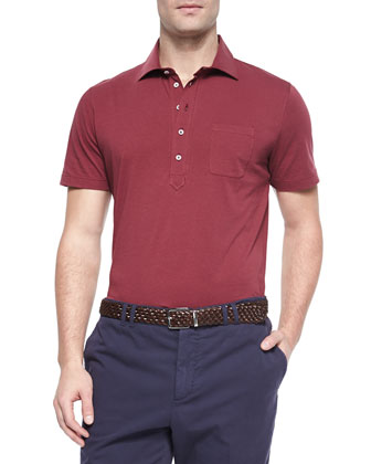 Saffron Five-Button Polo, Red