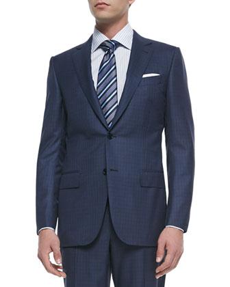 Trofeo Wool/Silk Box-Check Suit, Blue