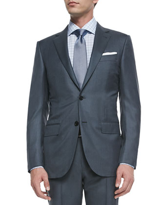 Two-Piece Wool/Silk Pindot Suit, Gray