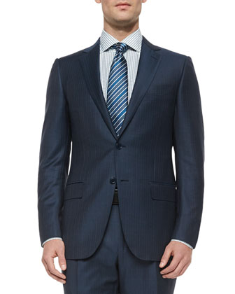 Trofeo Wool Striped Suit & Box Check Woven Dress Shirt