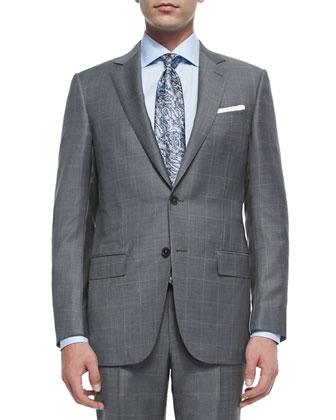 Trofeo Wool Windowpane Suit, Blue/Gray