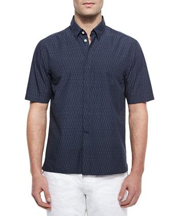 Casper Short-Sleeve Woven Shirt, Blue