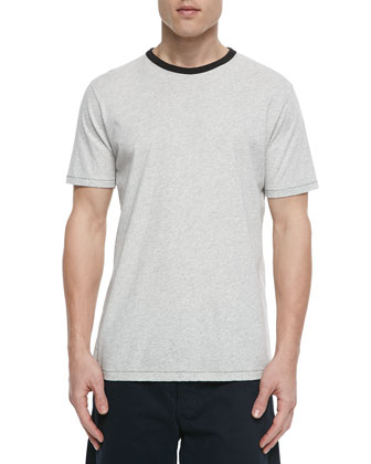 Heather-Knit Short-Sleeve Tee, White