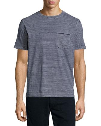 Striped Short-Sleeve Tee, Navy