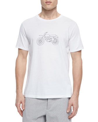 Moto Bike Printed Tee, White