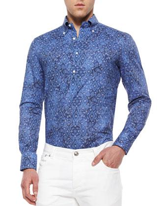 Bandana-Print Woven Shirt, Navy