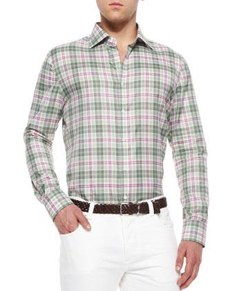 Windowpane Plaid Woven Shirt, Green/Magenta