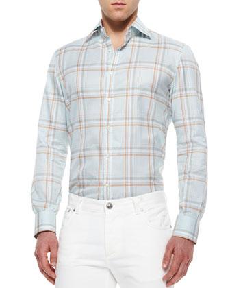 Windowpane Plaid Woven Sport Shirt, Blue/Copper