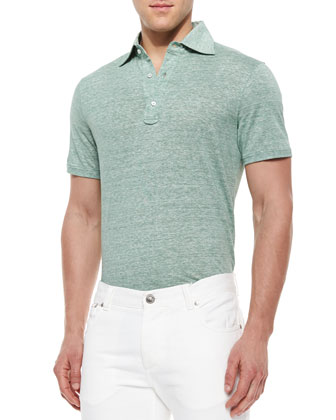 Fine-Stripe Short-Sleeve Polo Shirt, Green