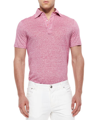 Fine-Striped Polo Shirt, Pink