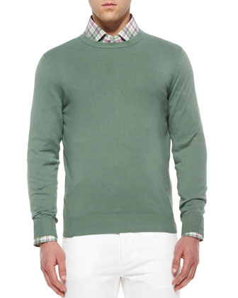 Cotton Crewneck Sweater, Green