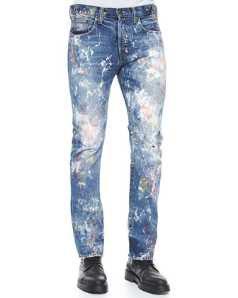 Demon Allover Paint-Splatter Slim Denim Jeans, Blue