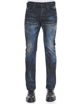 Demon Slim-Fit Dirty Wash Denim Jeans, Blue