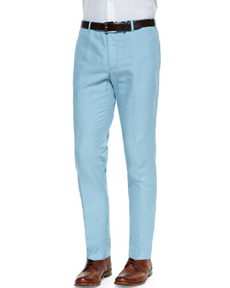 Chinolino Linen/Cotton Trousers, Pale Blue