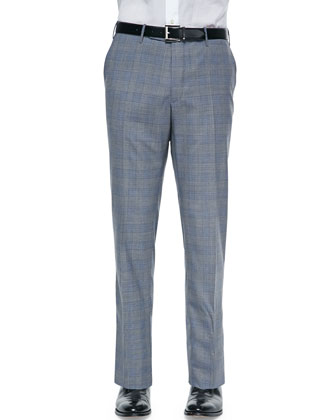 Benson Lightweight Wool Plaid Trousers, Gray/Blue