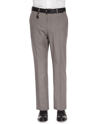 Check Cotton/Linen Trousers, Tan/Brown