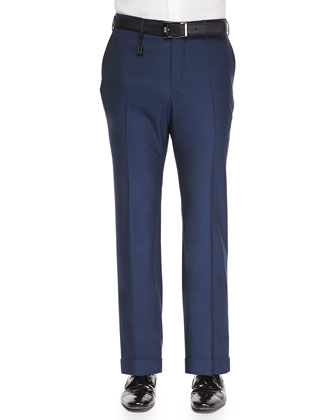 Super 130's Wool Trousers, Blue