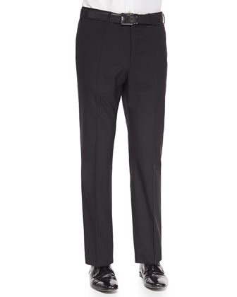 Super 150's Wool Trousers, Black