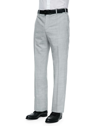 Parker Tropical-Weight Wool Trousers, Light Gray