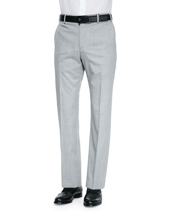 Woven Fine-Striped Wool Trousers, Pearl Stripe