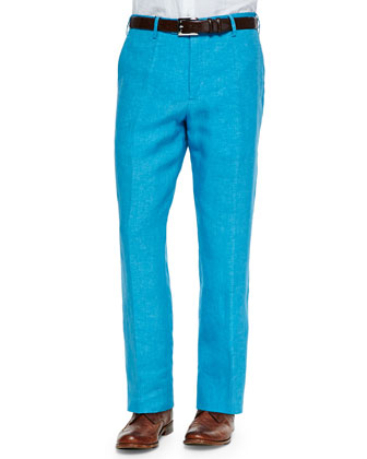 Solid Linen Dress Pants, Aqua