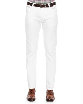 Five-Pocket Slim-Fit Denim Jeans, White