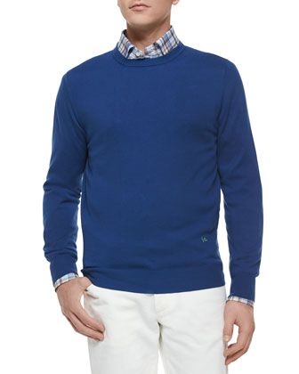 Cotton Crewneck Sweater, Navy
