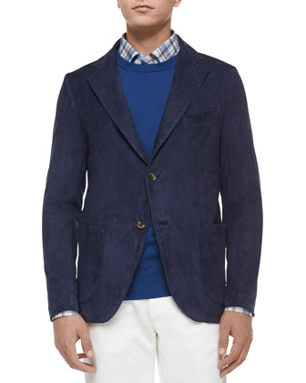 Two-Button Suede Blazer, Navy Blue