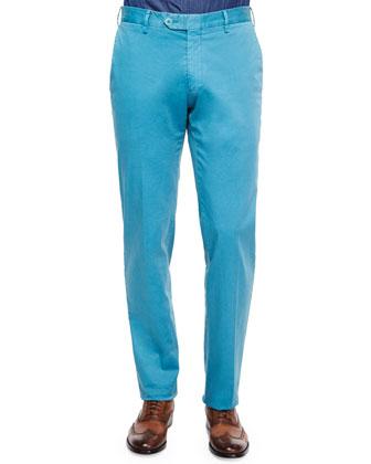 Slim-Fit Cotton Pants, Blue