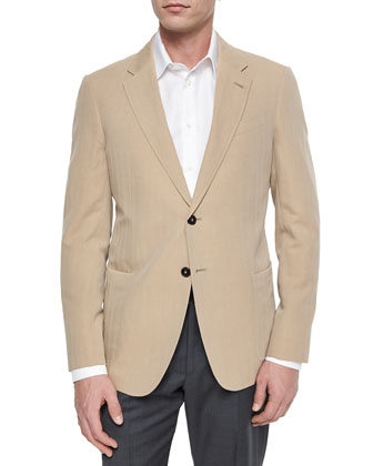Solaro Tonal-Stripe Wool-Blend Jacket, Tan