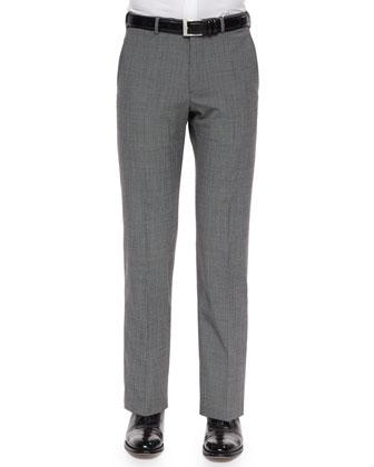 Mini-Check Wool-Blend Trousers, Black/White