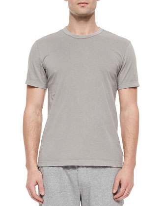 Short-Sleeve Crewneck Jersey Tee, Dark Gray