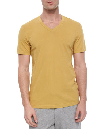 V-Neck Jersey Tee, Dark Citron