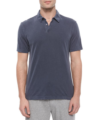 Titan Short-Sleeve Jersey Polo Shirt, Navy