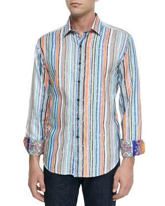 Huntington Striped Paisley Sport Shirt, Multi