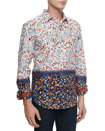Long-Sleeve Sea-Print Sport Shirt, White/Multi