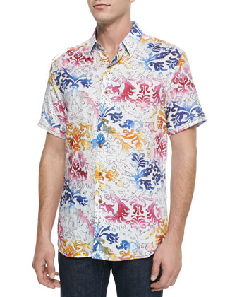 Sea Of Cortez Printed Linen Sport Shirt, White/Multi