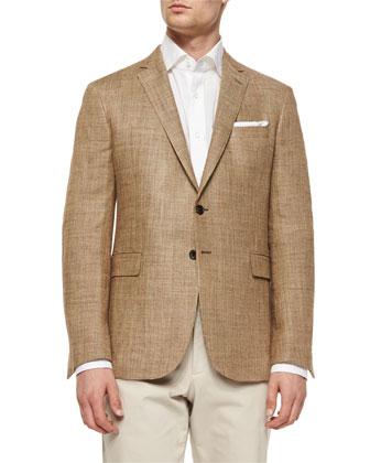 Mini-Texture Two-Button Sport Coat, Brown/Tan